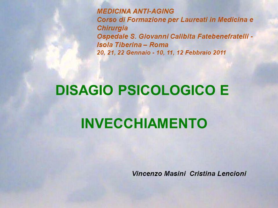 DISAGIO PSICOLOGICO E INVECCHIAMENTO