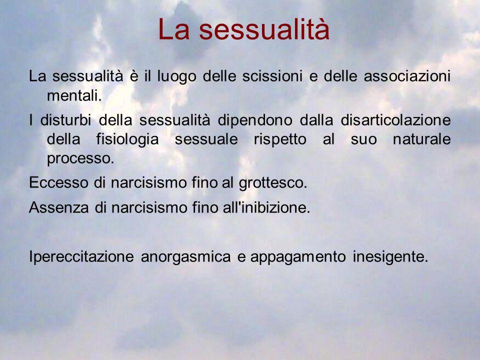 La sessualità La sessualità è il luogo delle scissioni e delle associazioni mentali.