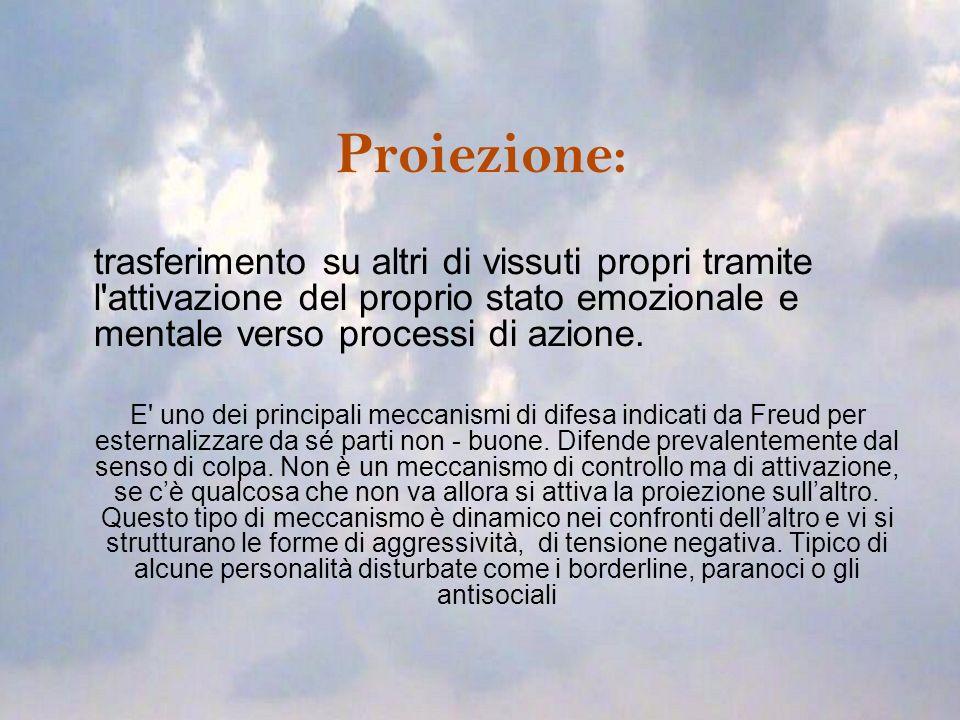 Proiezione: trasferimento su altri di vissuti propri tramite l attivazione del proprio stato emozionale e mentale verso processi di azione.