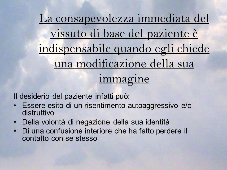 La consapevolezza immediata del vissuto di base del paziente è indispensabile quando egli chiede una modificazione della sua immagine