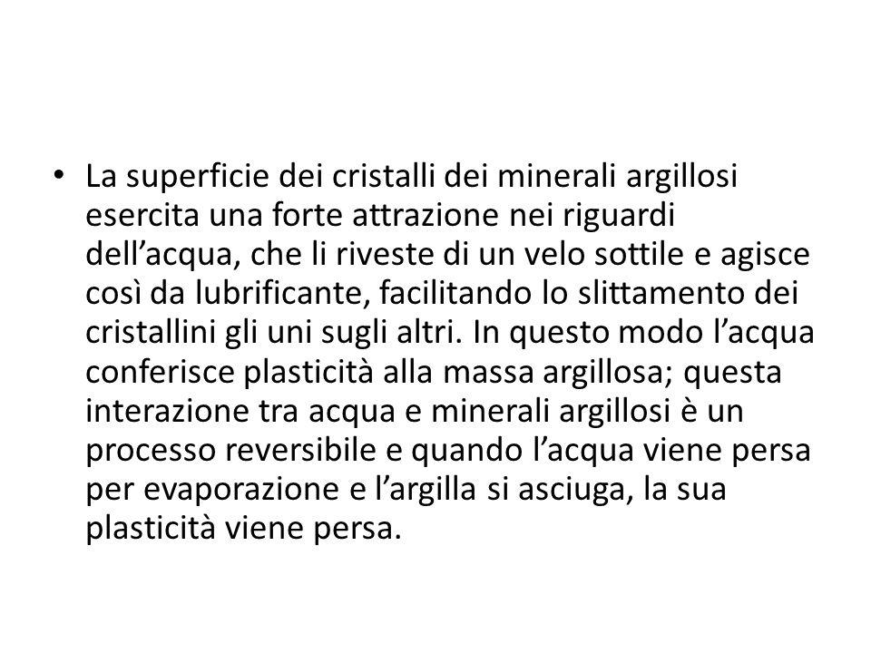 La superficie dei cristalli dei minerali argillosi esercita una forte attrazione nei riguardi dell'acqua, che li riveste di un velo sottile e agisce così da lubrificante, facilitando lo slittamento dei cristallini gli uni sugli altri.