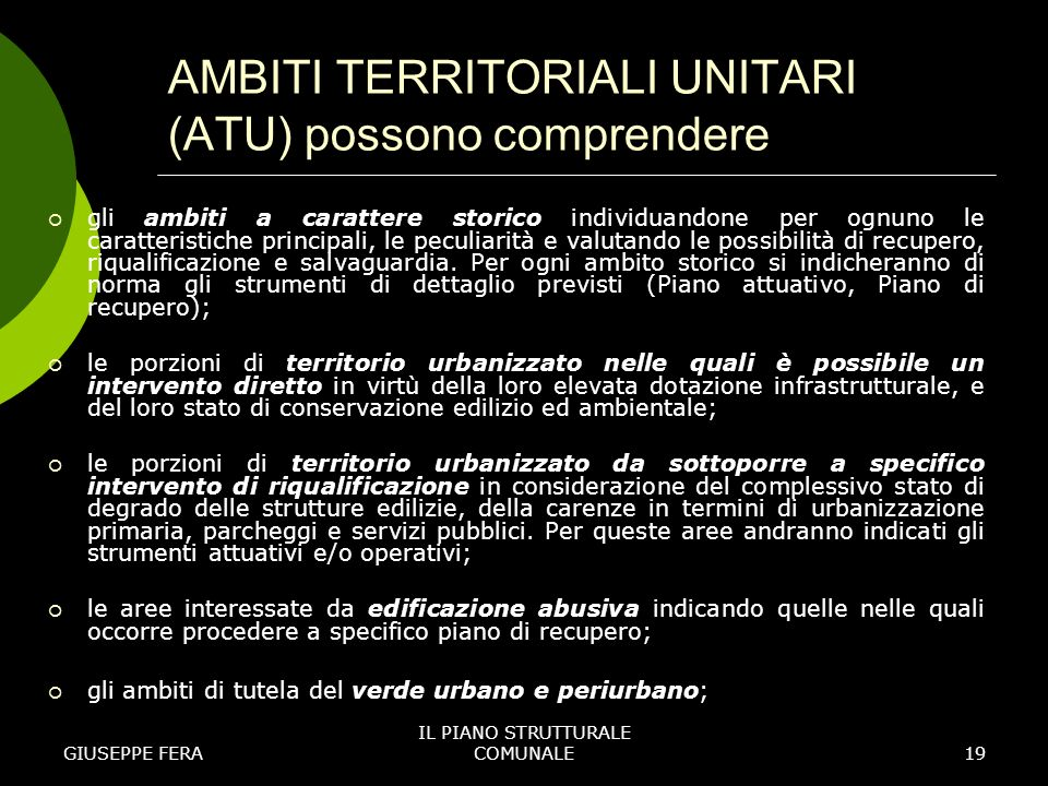 AMBITI TERRITORIALI UNITARI (ATU) possono comprendere