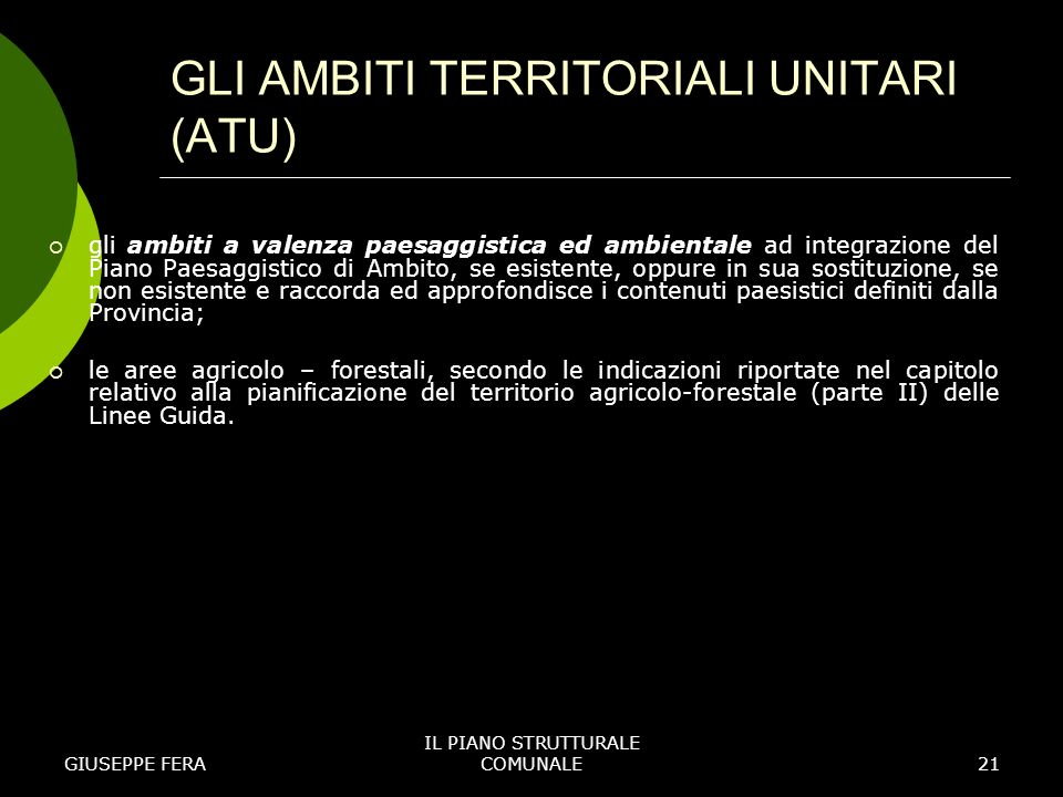 GLI AMBITI TERRITORIALI UNITARI (ATU)