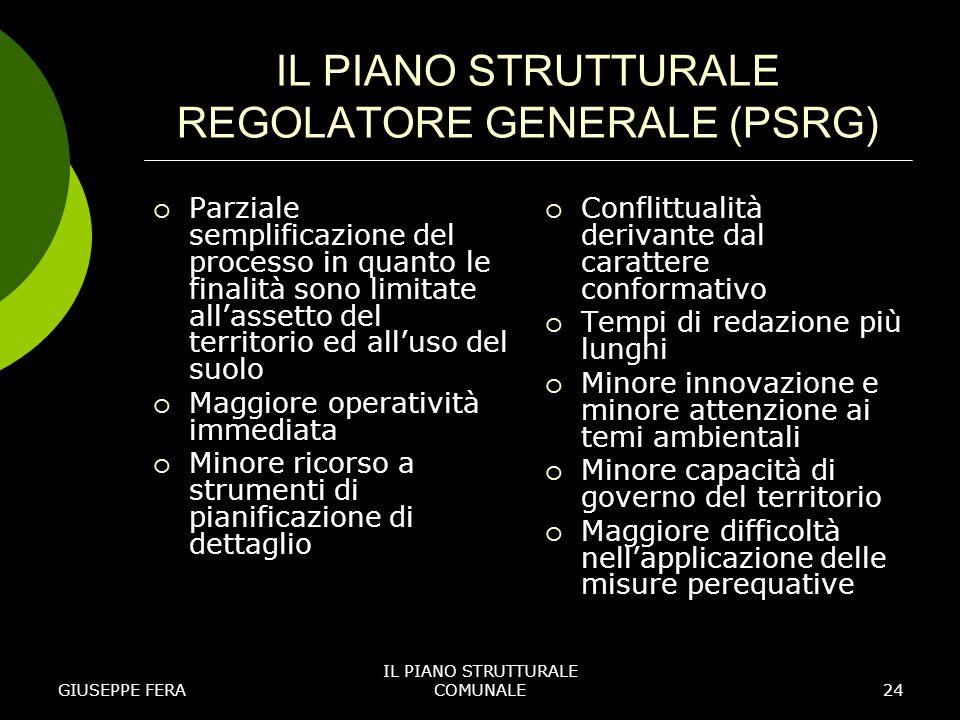 IL PIANO STRUTTURALE REGOLATORE GENERALE (PSRG)