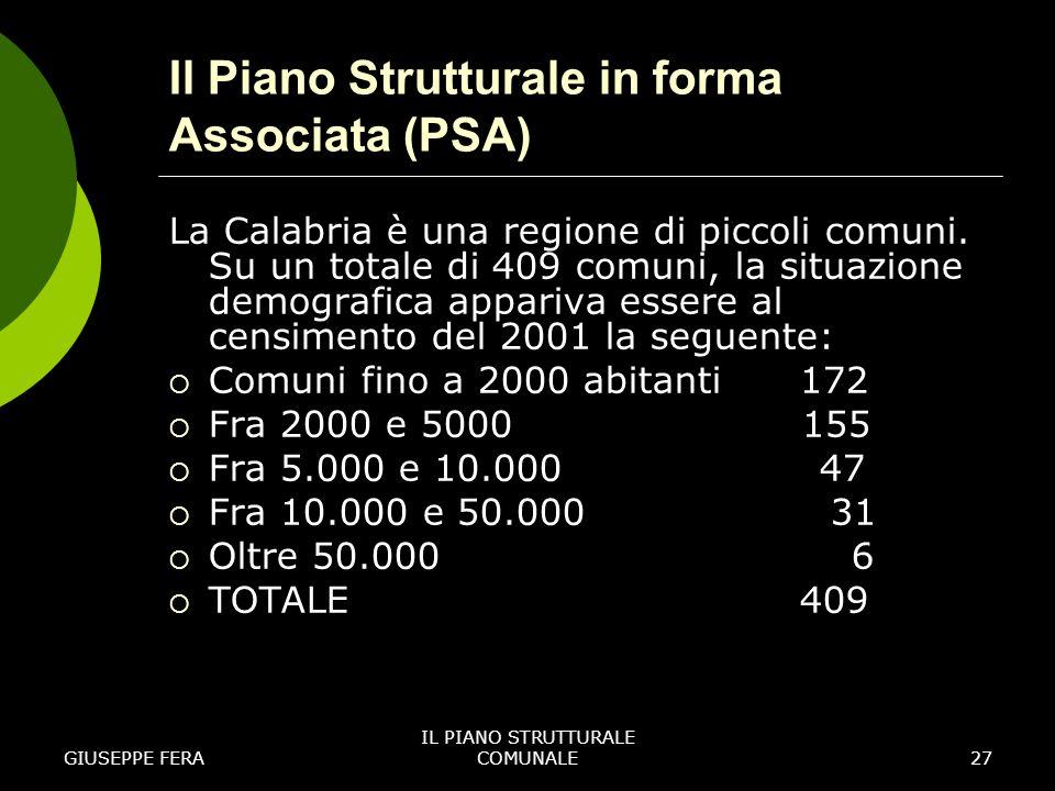 Il Piano Strutturale in forma Associata (PSA)