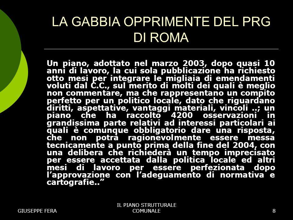 LA GABBIA OPPRIMENTE DEL PRG DI ROMA