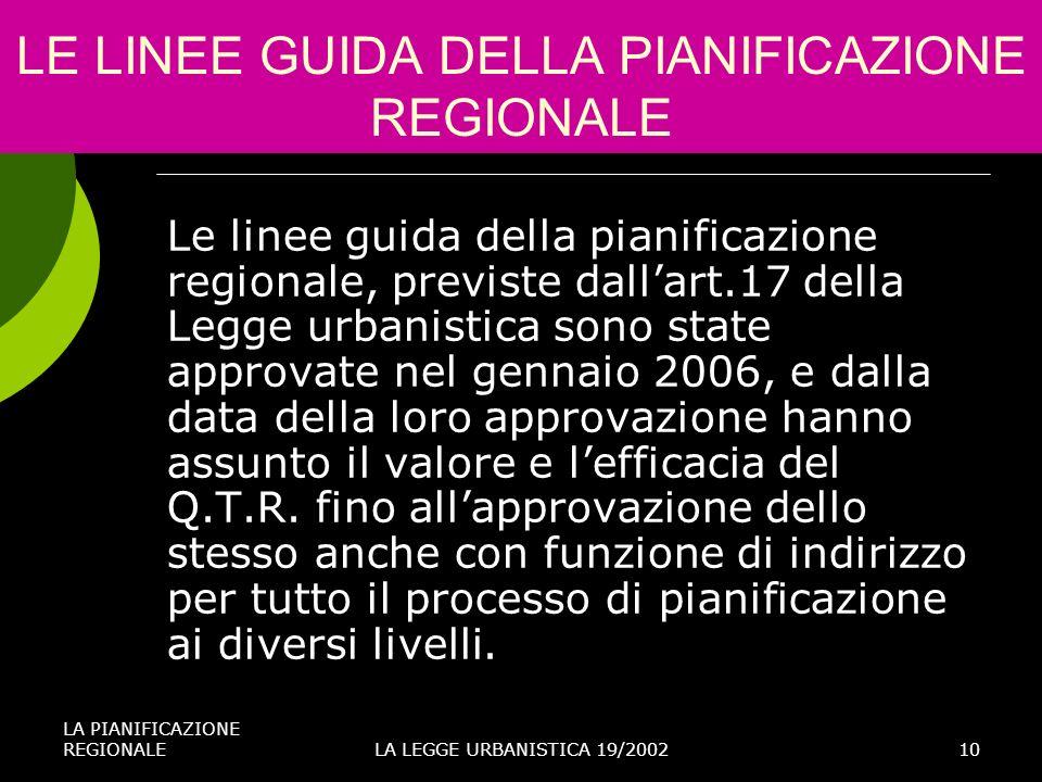 LE LINEE GUIDA DELLA PIANIFICAZIONE REGIONALE