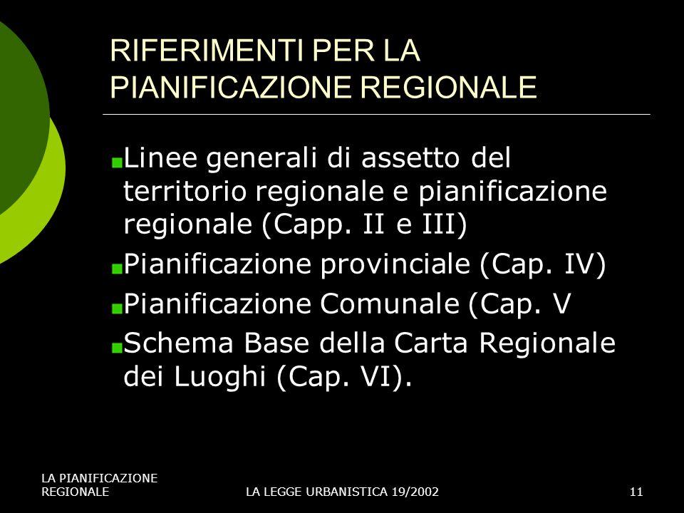 RIFERIMENTI PER LA PIANIFICAZIONE REGIONALE