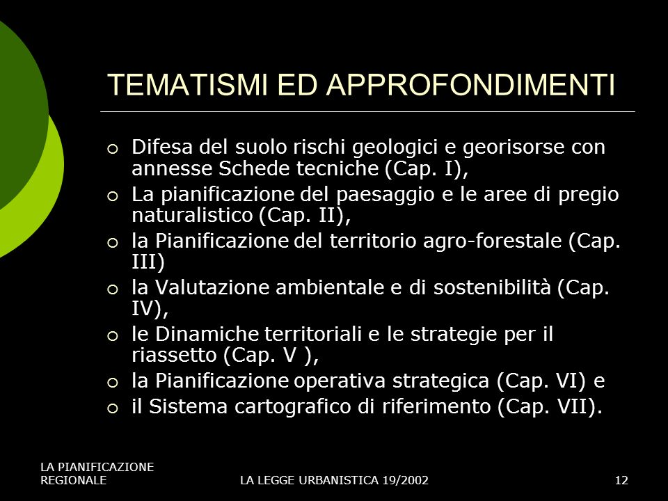 TEMATISMI ED APPROFONDIMENTI
