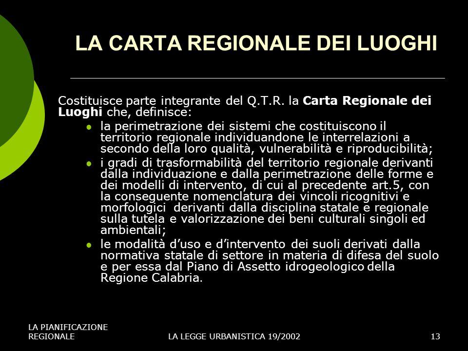 LA CARTA REGIONALE DEI LUOGHI