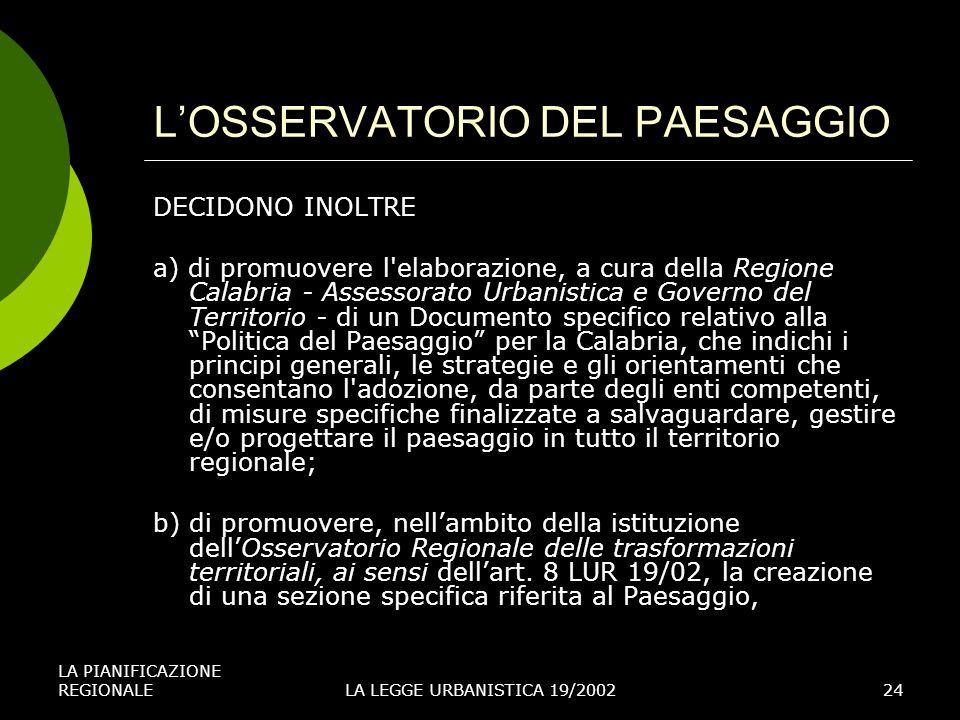 L'OSSERVATORIO DEL PAESAGGIO