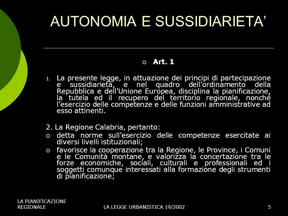 AUTONOMIA E SUSSIDIARIETA'