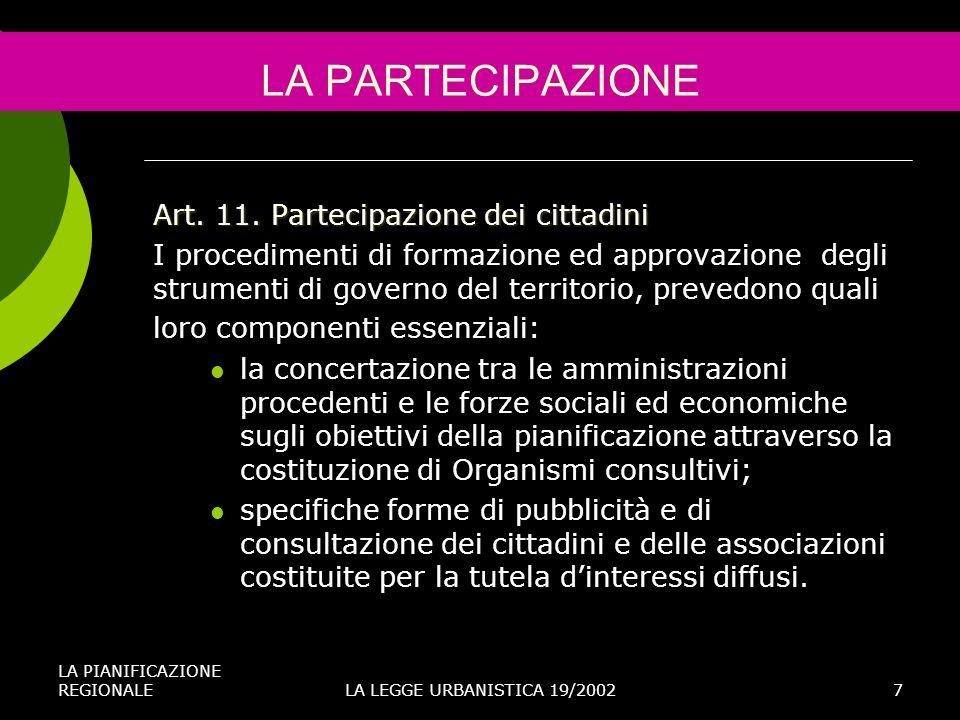 LA PARTECIPAZIONE Art. 11. Partecipazione dei cittadini