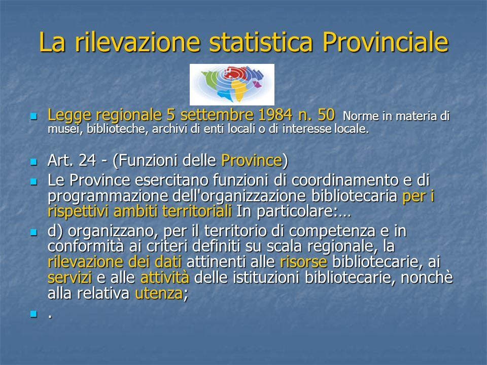La rilevazione statistica Provinciale