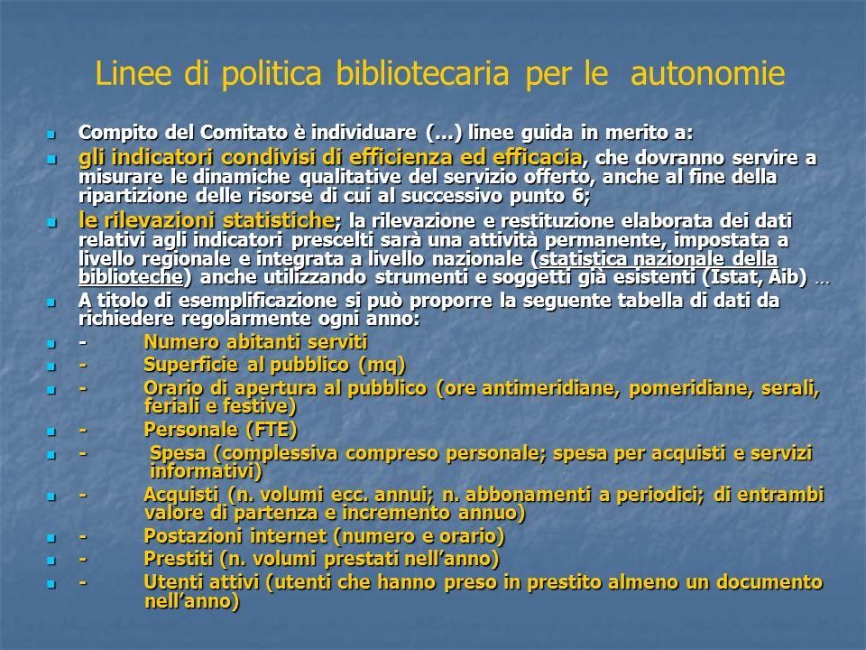 Linee di politica bibliotecaria per le autonomie