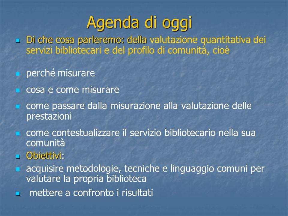 Agenda di oggi Di che cosa parleremo: della valutazione quantitativa dei servizi bibliotecari e del profilo di comunità, cioè.