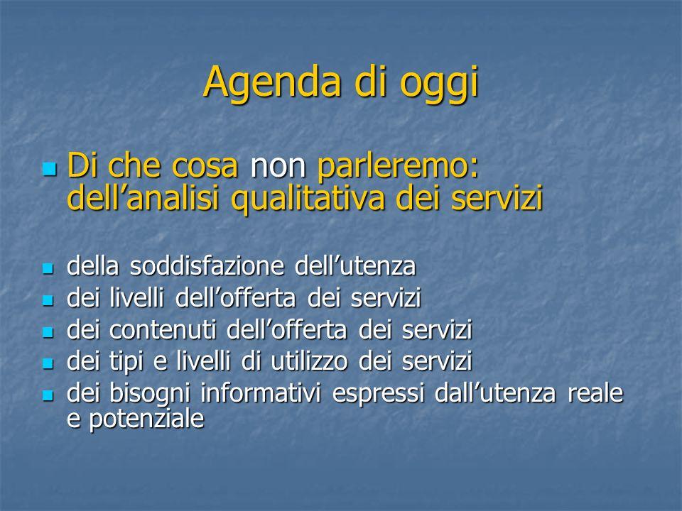 Agenda di oggi Di che cosa non parleremo: dell'analisi qualitativa dei servizi. della soddisfazione dell'utenza.