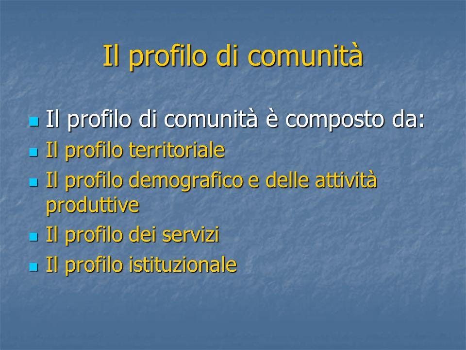 Il profilo di comunità Il profilo di comunità è composto da: