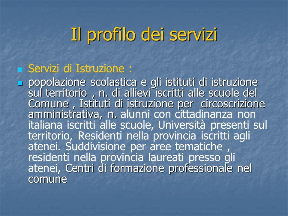 Il profilo dei servizi Servizi di Istruzione :