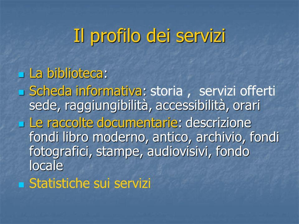 Il profilo dei servizi La biblioteca: