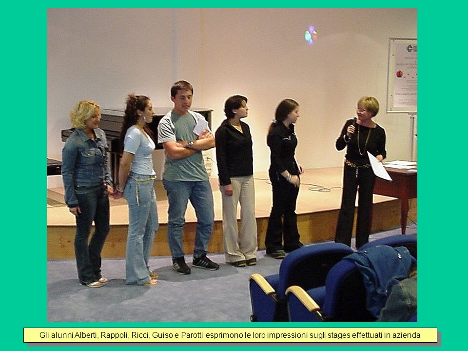 Gli alunni Alberti, Rappoli, Ricci, Guiso e Parotti esprimono le loro impressioni sugli stages effettuati in azienda