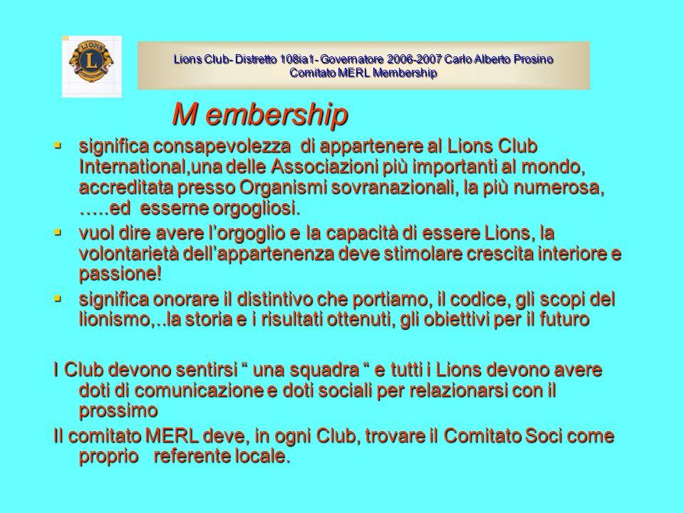 Lions Club- Distretto 108ia1- Governatore 2006-2007 Carlo Alberto Prosino Comitato MERL Membership