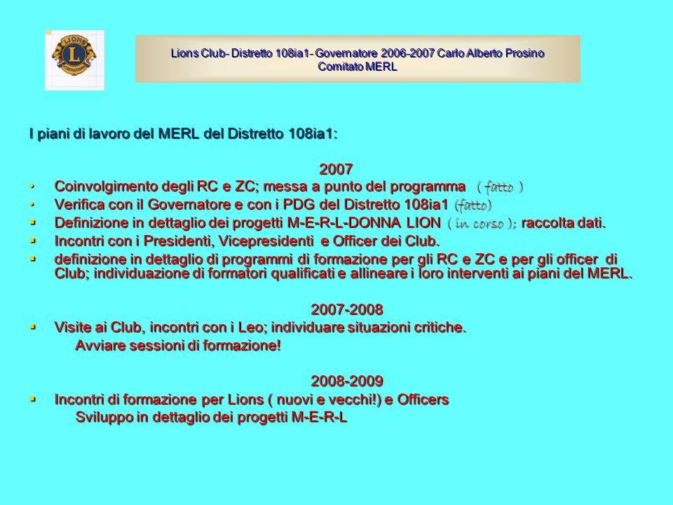 I piani di lavoro del MERL del Distretto 108ia1: 2007