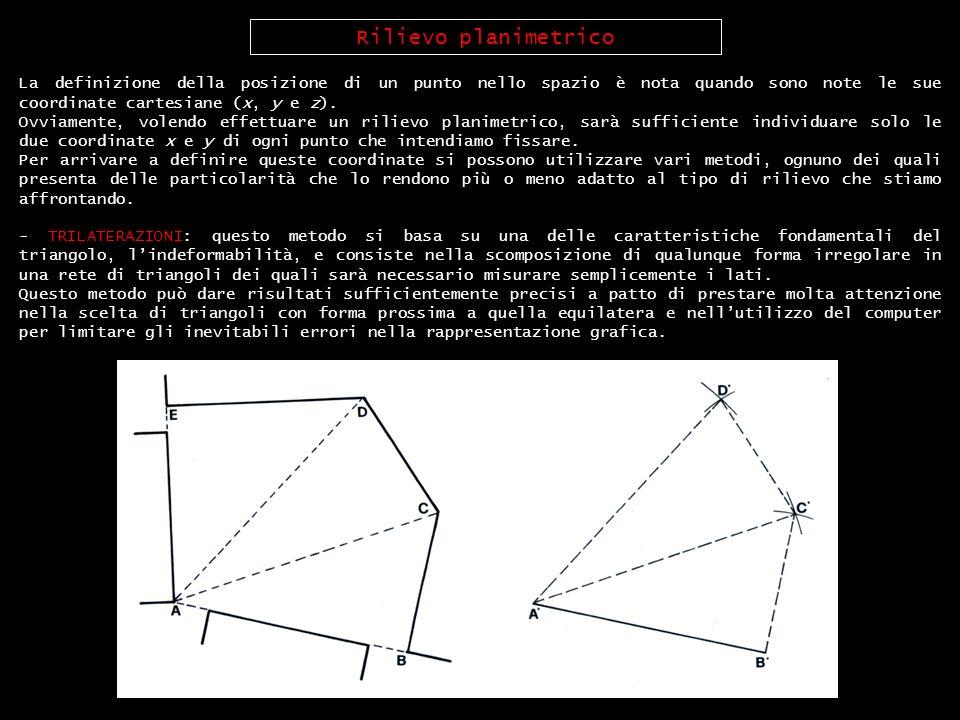 Rilievo planimetrico La definizione della posizione di un punto nello spazio è nota quando sono note le sue coordinate cartesiane (x, y e z).