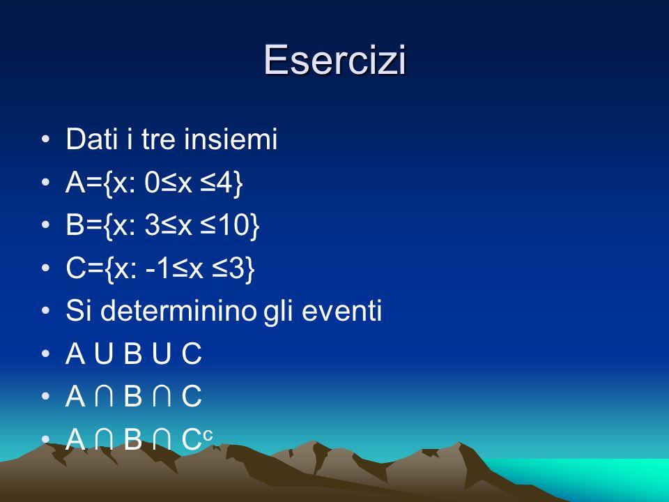 Esercizi Dati i tre insiemi A={x: 0≤x ≤4} B={x: 3≤x ≤10}