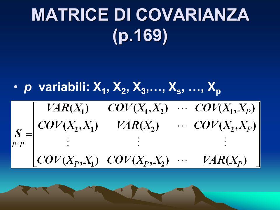 MATRICE DI COVARIANZA (p.169)