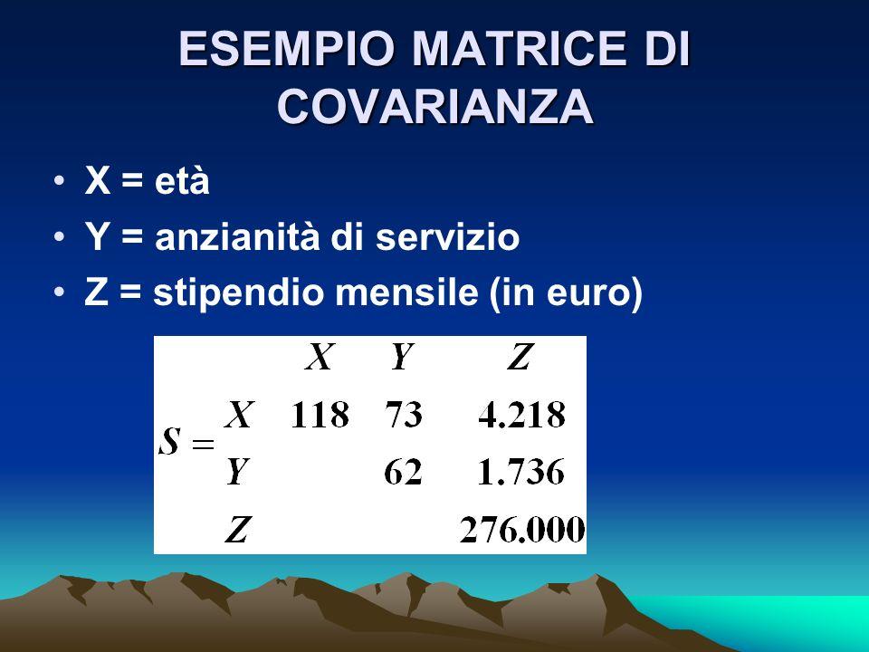 ESEMPIO MATRICE DI COVARIANZA