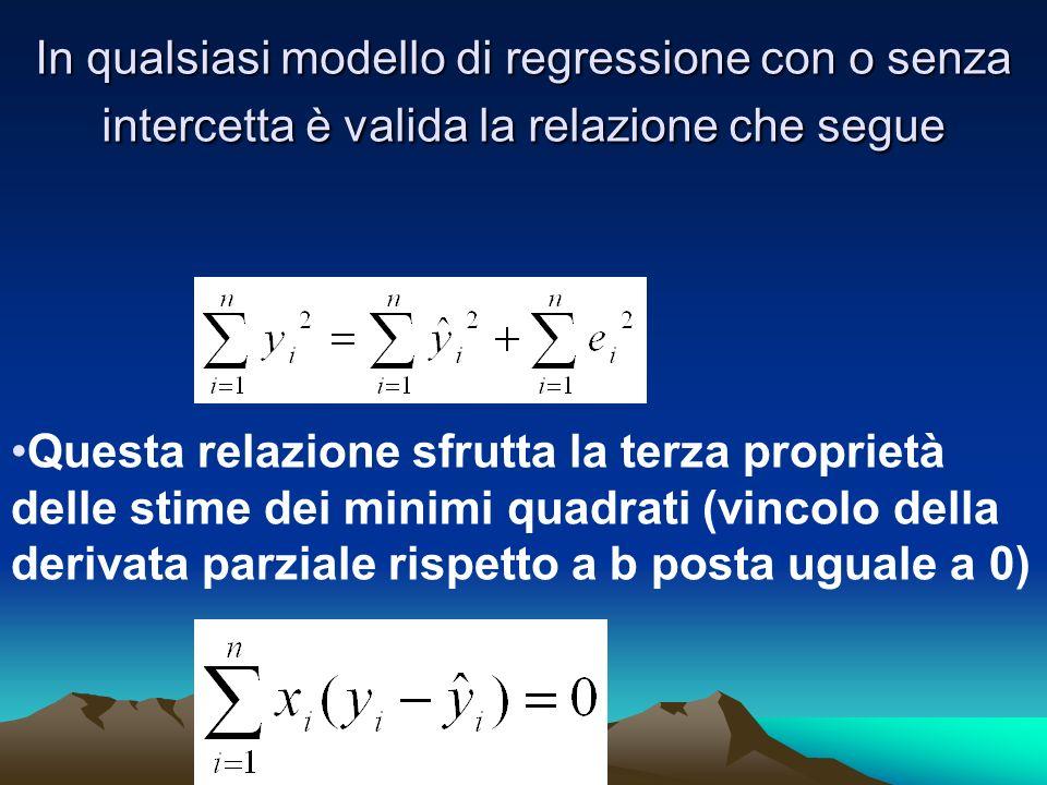 In qualsiasi modello di regressione con o senza intercetta è valida la relazione che segue