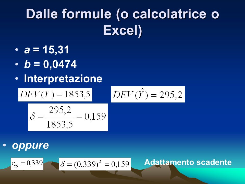 Dalle formule (o calcolatrice o Excel)