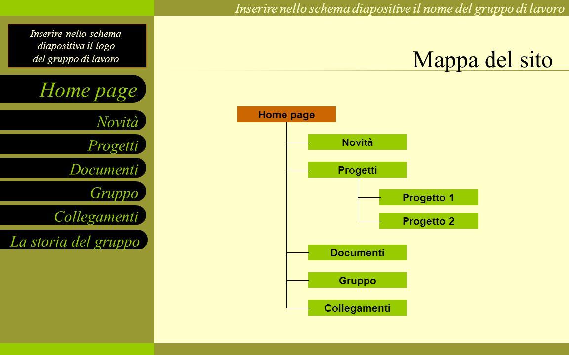 Mappa del sito Home page Novità Progetti Progetto 1 Progetto 2