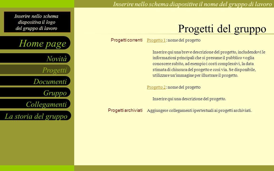 Progetti del gruppo Progetti correnti Progetti archiviati