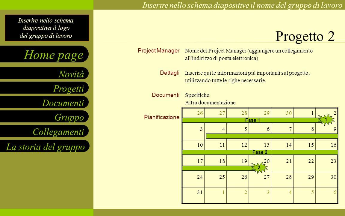 Progetto 2 Project Manager Dettagli Documenti Pianificazione