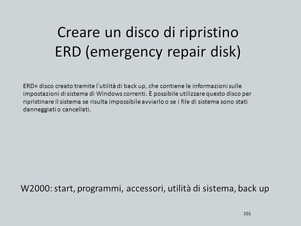 Creare un disco di ripristino ERD (emergency repair disk)