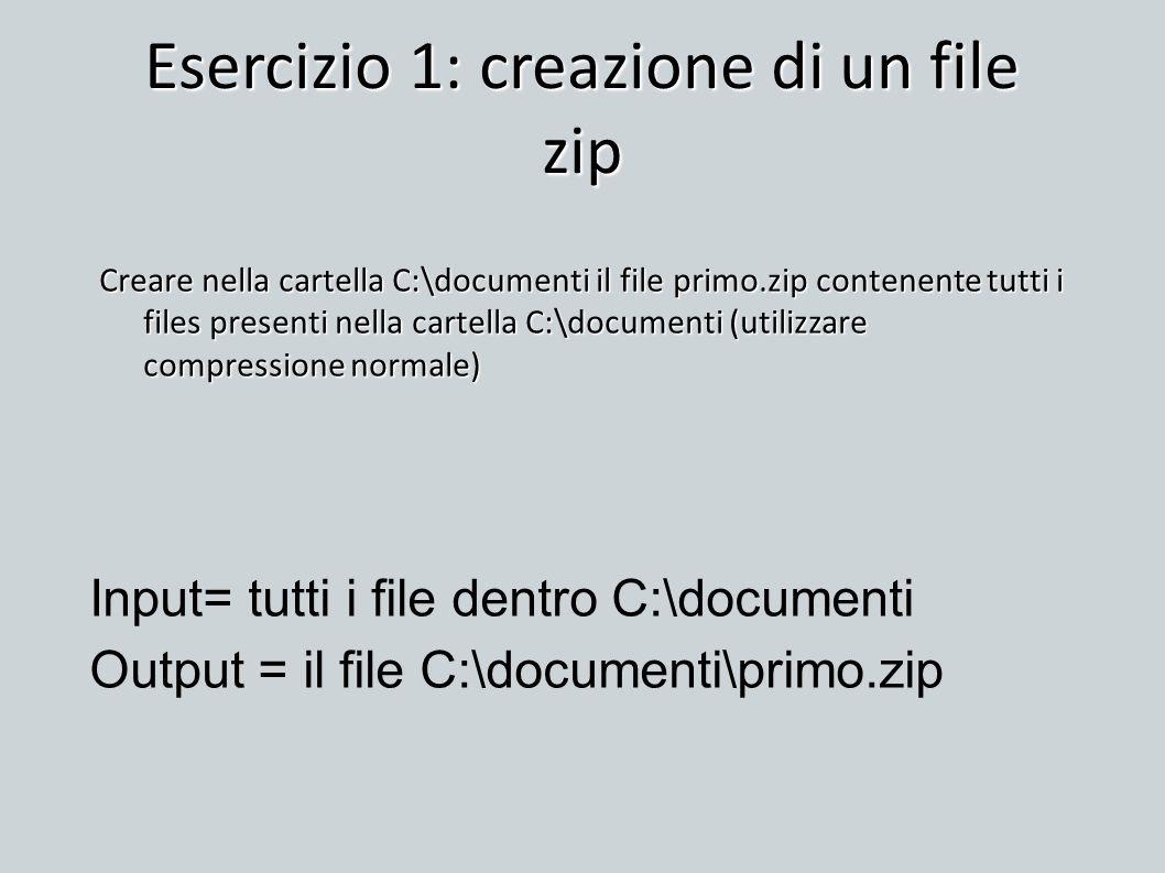 Esercizio 1: creazione di un file zip