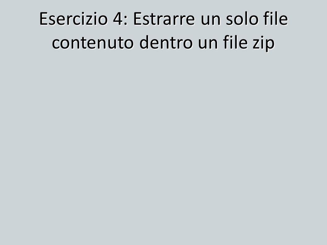 Esercizio 4: Estrarre un solo file contenuto dentro un file zip