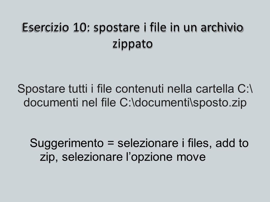 Esercizio 10: spostare i file in un archivio zippato