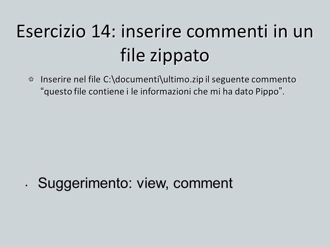 Esercizio 14: inserire commenti in un file zippato