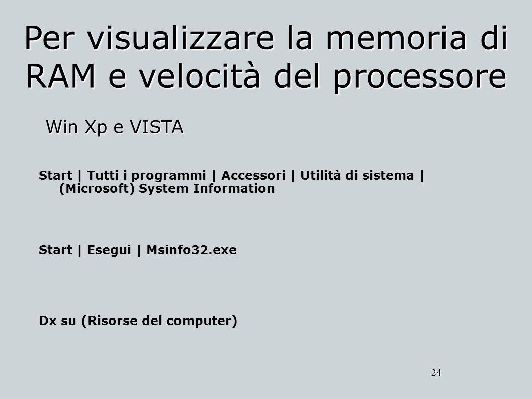 Per visualizzare la memoria di RAM e velocità del processore