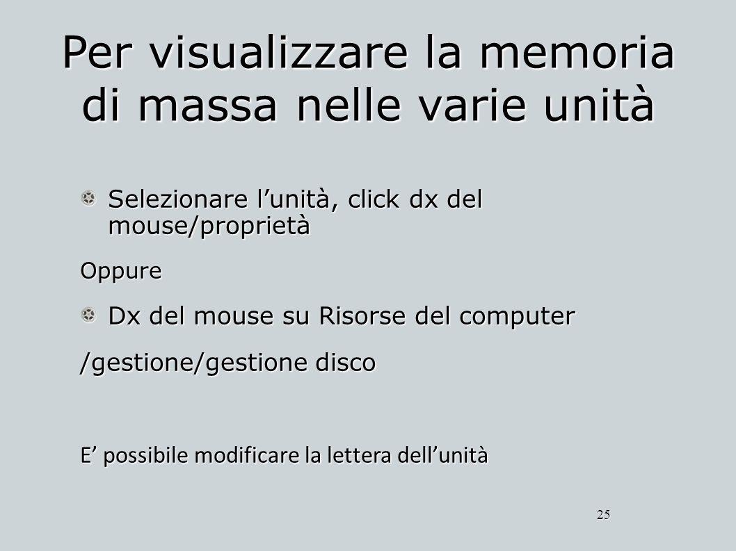Per visualizzare la memoria di massa nelle varie unità