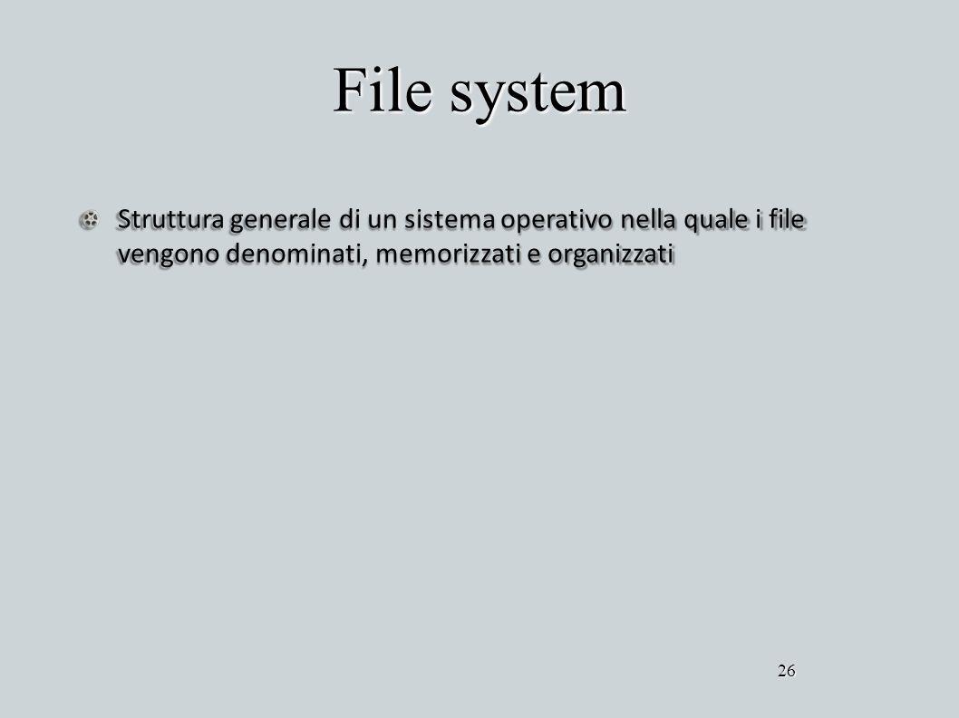 File system Struttura generale di un sistema operativo nella quale i file vengono denominati, memorizzati e organizzati.