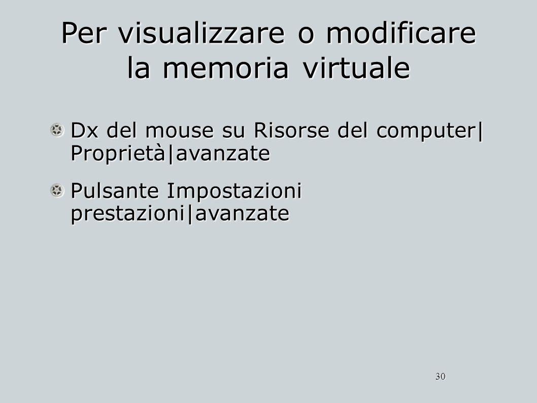 Per visualizzare o modificare la memoria virtuale