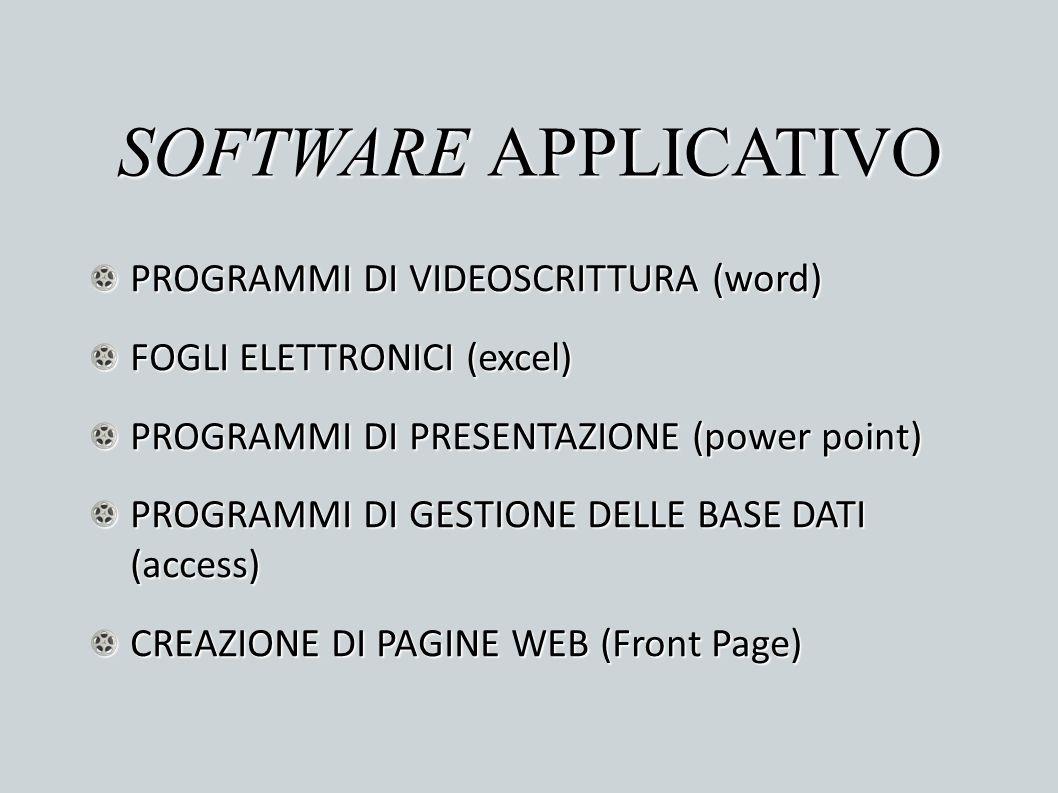 SOFTWARE APPLICATIVO PROGRAMMI DI VIDEOSCRITTURA (word)