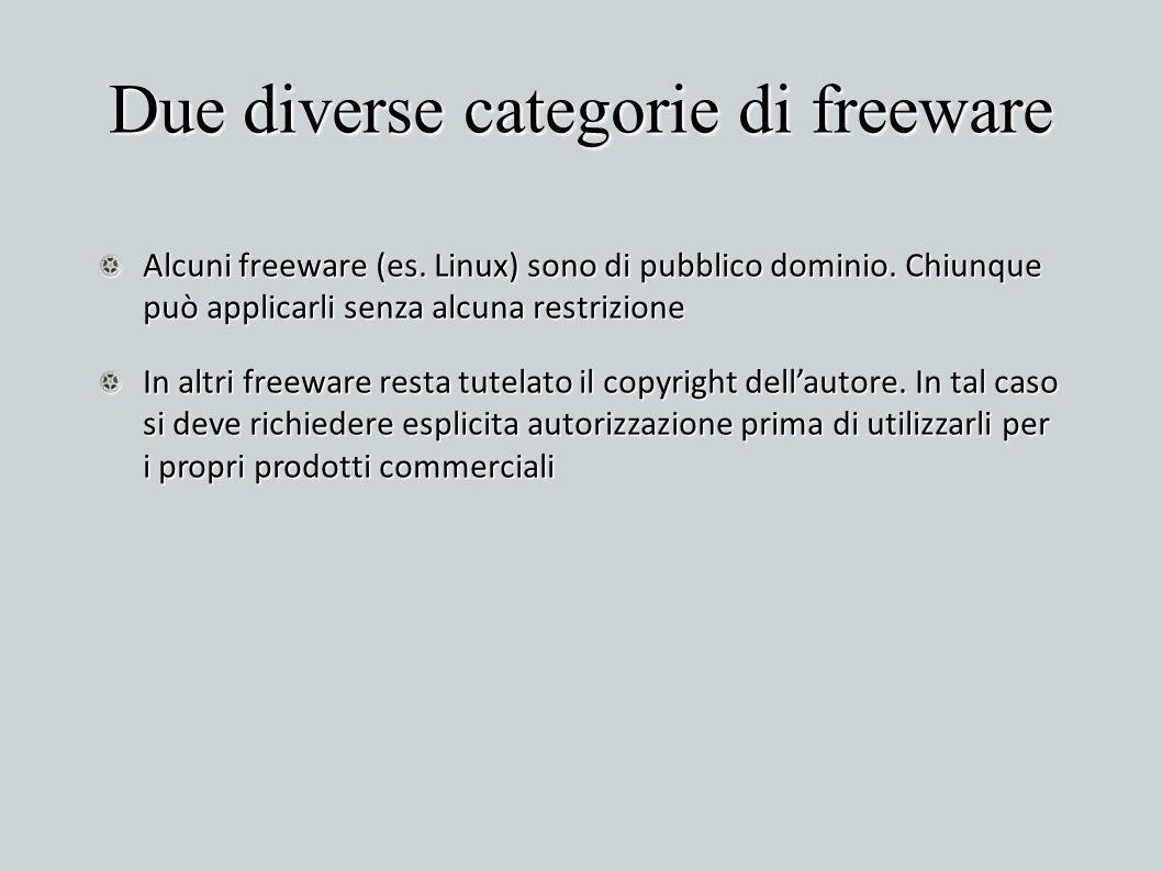 Due diverse categorie di freeware
