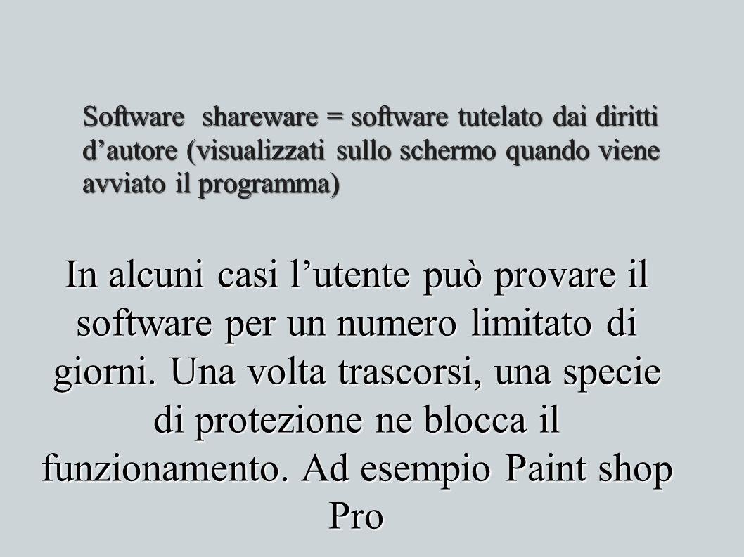 Software shareware = software tutelato dai diritti d'autore (visualizzati sullo schermo quando viene avviato il programma)