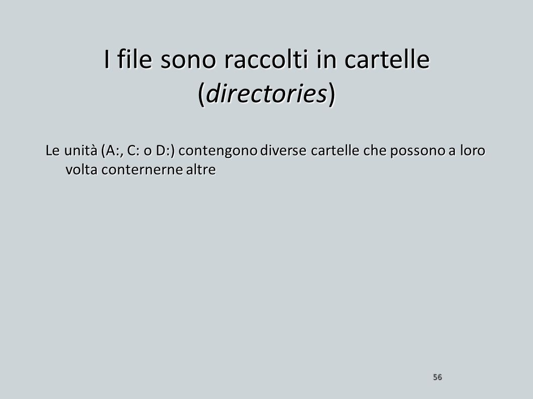 I file sono raccolti in cartelle (directories)