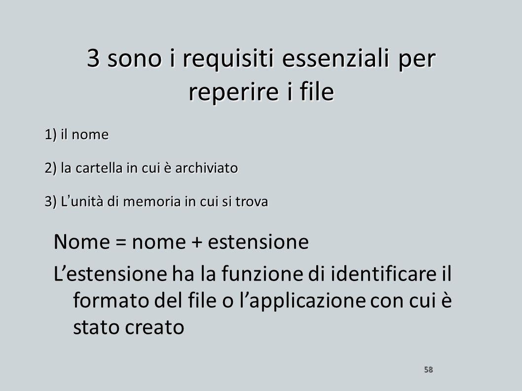 3 sono i requisiti essenziali per reperire i file